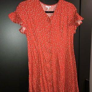 Buttoned up burnt orange mini dress